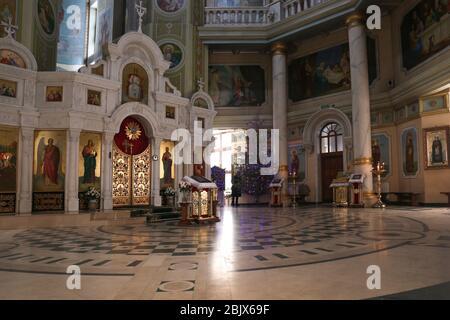KYIV, UKRAINE - JANUARY 18, 2018: Church of Nativity of Christ, interior design. Orthodox religion