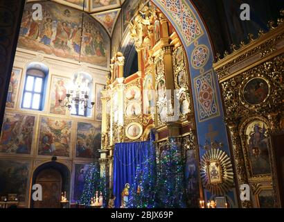 KYIV, UKRAINE - JANUARY 18, 2018: Saint Michael's Golden-Domed monastery interior. Orthodox religion