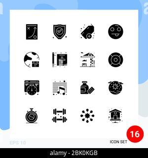 Modern Set of 16 Solid Glyphs Pictograph of global, database, add, app, emot Editable Vector Design Elements - Stock Photo