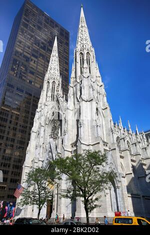 New York, USA – September 06, 2018: St. Patricks Cathedral located on Fifth Avenue in Manhattan. This Cathedral built in 1858 is a decorated Neo-Gothi - Stock Photo