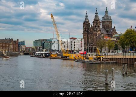Amsterdam / Netherlands - October 15, 2018: Cityscape of Amsterdam capital of the Netherlands and its iconic canals