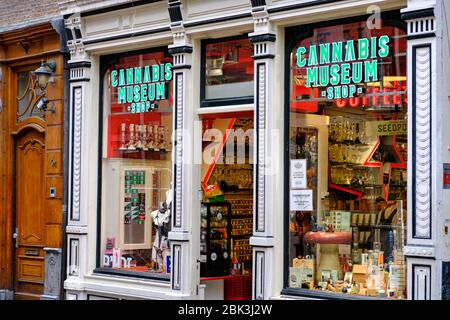 Amsterdam / Netherlands - October 15, 2018: Cannabis Museum Shop in Amsterdam, capital of Netherlands