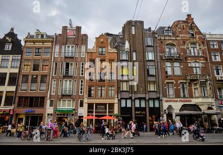 Amsterdam / Netherlands - October 15, 2018: Colorful old buildings in Amsterdam, capital of Netherlands