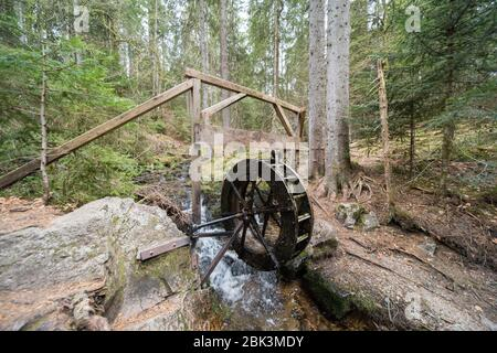 water wheel in the forest in germany.