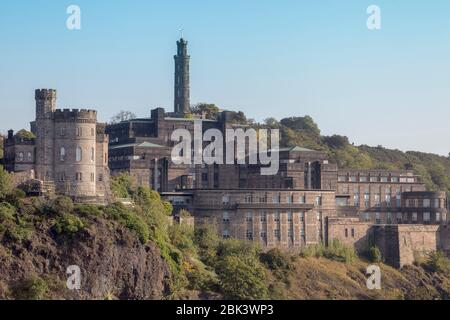 View of the Nelson Monument on Calton Hill in Edinburgh, viewed from near Waverley Station, which houses a small museum and is a great viewpoint - Stock Photo