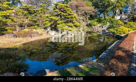 Imperial Palace Gardens in February, Tokyo, Japan - Stock Photo