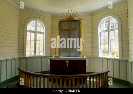 Interior of the renovated church from 1913 at the Norwegian whaling station in Grytviken on South Georgia Island, Sub-Antarctica. - Stock Photo