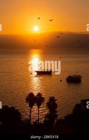 Sunrise over Sea of Galilee, Lake Tiberias, Israel - Stock Photo