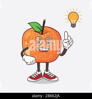 An illustration of Pluots Fruit cartoon mascot character get an idea - Stock Photo