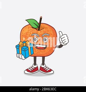 An illustration of Pluots Fruit cartoon mascot character with gift - Stock Photo