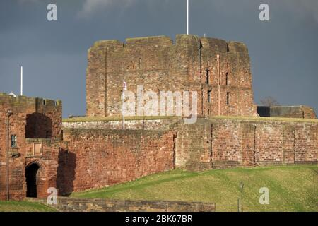 Carlisle Castle's outer gatehouse and keep - Stock Photo