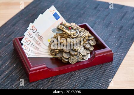Money frog feng shui symbol of prosperity with the coin and euro banknotes still-life - Stock Photo