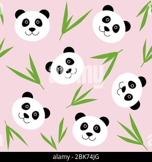 Cartoon panda face seamless pattern. Cute childish pink background with panda bear kawaii face and bamboo leaves - Stock Photo