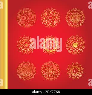 Golden vector traditional snowflakes on red background. - Stock Photo