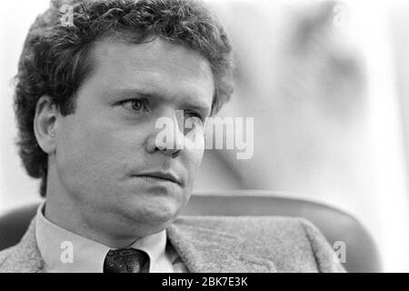 Undersecretary of Defense and best selling author James Webb during an interview at the Pentagon November 7, 1984 in Washington, DC. - Stock Photo