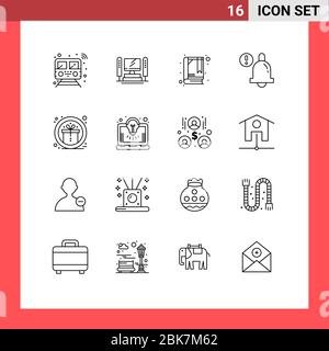 User Interface Pack of 16 Basic Outlines of prize, award, cpu, bell, alarm Editable Vector Design Elements - Stock Photo