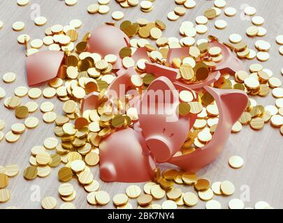 A broken piggy bank loaded with dollar coins. Business and finance concept. 3d rendering