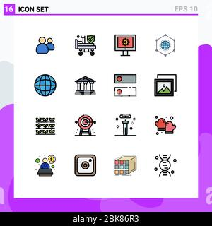 16 Thematic Vector Flat Color Filled Lines and Editable Symbols of education, connection, online support service, data, network Editable Creative Vect - Stock Photo