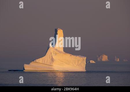 Icebergs in the evening light, Greenland - Stock Photo