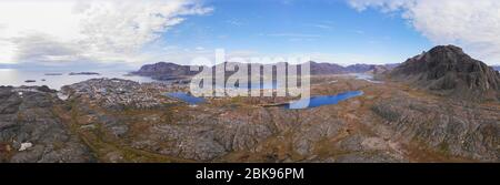 Aerial view of Sisimiut, Greenland - Stock Photo