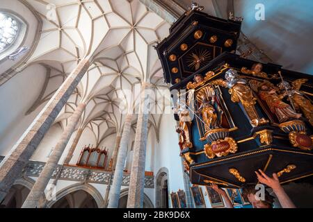 View of the 15th century Catholic church Mariä Heimsuchung in Zell am Pettenfirst, Austria, with the carved pulpit by Thomas Schwanthaler from 1668 - Stock Photo