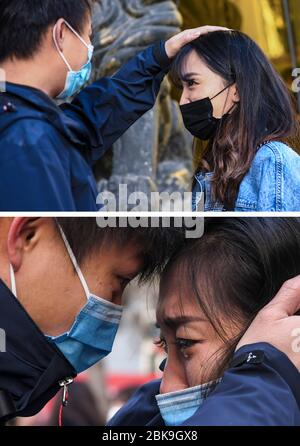 Beijing, China. 28th Jan, 2020. The upper part of this combo photo taken on April 23, 2020 shows Lyu Jun (L), a member of a medical team supporting the novel coronavirus-hit Hubei Province, reuniting with his fiancee Wang He in Urumqi, northwest China's Xinjiang Uygur Autonomous Region. The lower part of the combo photo taken on Jan. 28, 2020 shows Lyu Jun (L) saying goodbye to Wang He before leaving for Hubei Province at Xinjiang Medical University in Urumqi. Credit: Wang Fei/Xinhua/Alamy Live News - Stock Photo