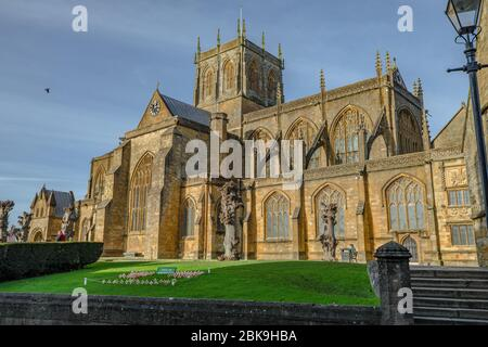 Sherborne, Dorset,UK-December 7th, 2017: Abbey founded in 705AD and famed for its Elizabethan tombs and its unique, ornate vaulted ceiling.Abbey found - Stock Photo