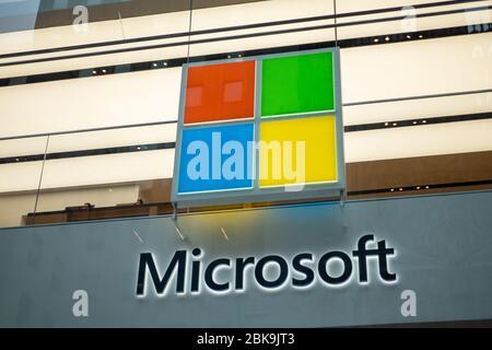 Microsoft company logo on facade of brand store on 5th avenue in manhattan - Stock Photo