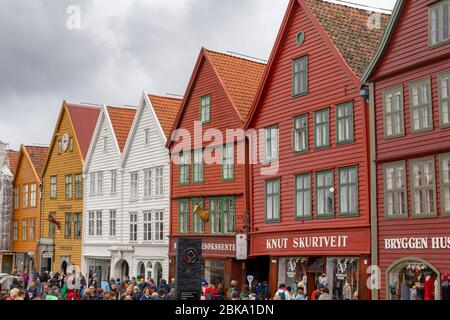 Colorful wooden houses on Bryggen, traditional architecture in the city of Bergen and UNESCO World Cultural Heritage