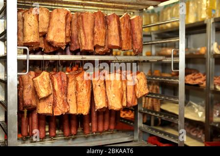 ham meat processing plant factory Hams smoked smoking oven ...