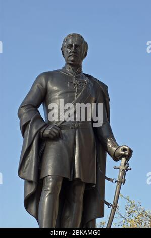 Large bronze statue of Major General Sir Henry Havelock in Trafalgar Square, London.  The soldier was famous for leading the army in India and Afghani