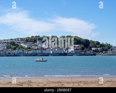 INSTOW, DEVON, ENGLAND - MAY 2 2020: the north Devon seaside town of Appledore viewed across the estuary from Instow. - Stock Photo