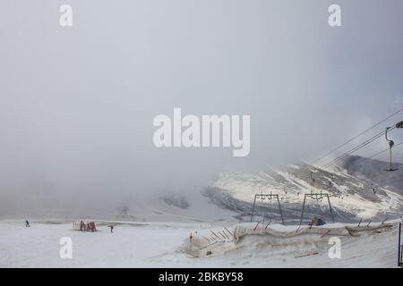 Hintertux, Austria - August 9, 2019: Clouds on a Summer Day on the Hintertux Glacier - Stock Photo