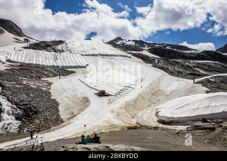 Hintertux, Austria - August 9, 2019: View of Hintertux Glacier in Summer, Zillertal Valley, Tyrol, Austria - Stock Photo