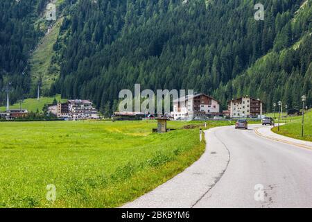 Hintertux, Austria - August 10, 2019: View of Hintertux Village, Tux Valley, Tyrol - Stock Photo