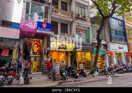 Nha Chung street, Hoan Kiem district, Hanoi, Vietnam - Stock Photo