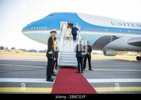 President Donald J. Trump and First Lady Melania Trump board Air Force One in Helsinki, Finland   July 16, 2018 President Trump & the First Lady's Trip to Europe - Stock Photo