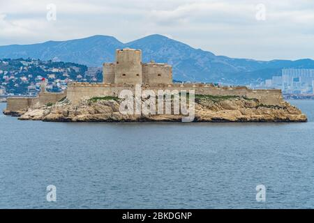 View of the Chateau d'If, the famous prison the Bay of Marseille which was the settings of Alexandre Dumas novel The Count of Monte Cristo - Stock Photo