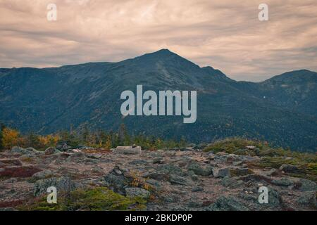 Beautiful landscape pictures during the autumn season from Mount Washington in New Hampshire, USA. Approximately 6300 ft elevation. Notorious erratic