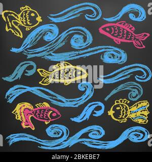 A set of elements for your creativity. Children's drawings wax crayons on a black background. Waves and fishes - Stock Photo