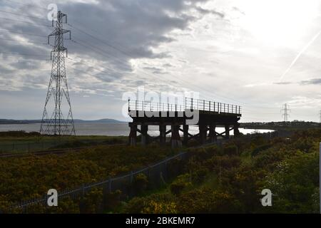 The remaining part of the Old Loughor Bridge in Llanelli, Wales. Photo taken on the 6th of May 2019 - Stock Photo