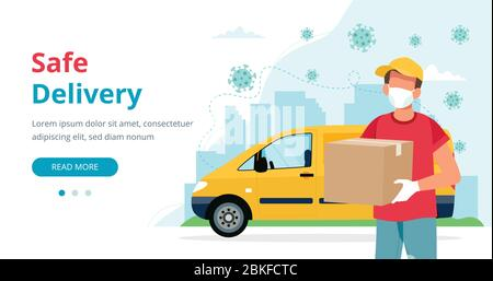 Safe delivery concept, delivery man with a box wearing mask and yellow car. Vector illustration in flat style - Stock Photo