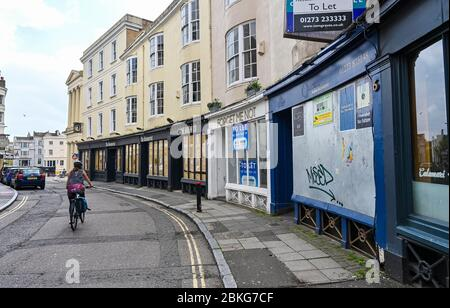 Brighton UK 4th May 2020 -  It's almost deserted in the famous Lanes shopping area of Brighton during the lockdown in the Coronavirus COVID-19 pandemic crisis  . The government is expected to start relaxing some of the lockdown measures and get businesses back to work over the next week . Credit: Simon Dack / Alamy Live News