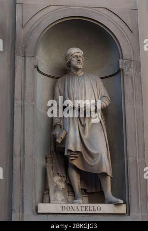 Donatello. Statue in the Uffizi Gallery, Florence, Tuscany, Italy - Stock Photo