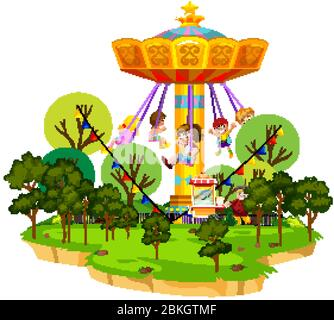 Scene with many kids riding on giant swing in the park illustration - Stock Photo