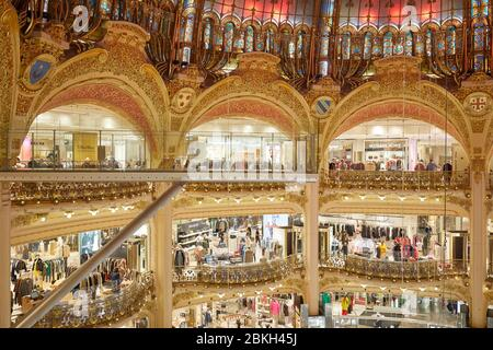 PARIS - NOVEMBER 6, 2019: Galeries Lafayette interior with Glasswalk installation in Paris