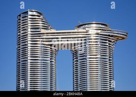 DUBAI, UNITED ARAB EMIRATES - NOVEMBER 22, 2019: Address Sky View luxury hotel in a sunny day, clear blue sky in Dubai