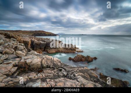 A long exposure of the rocky coastlone at Hushinish on the Isle of Harris in the Wetern isles of Scotland