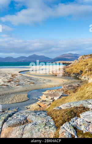 Low tide on the beach at Traigh Rosamol at Luskentyre on the Isle of Harris in the Western Isles of Scotland