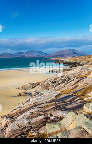 Blue skies over Traigh Rosamol beach at Luskentyre on the Isle of Harris in the Western isles of Scotland